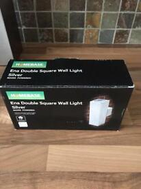 Outside wall light, new in box, stainless steel