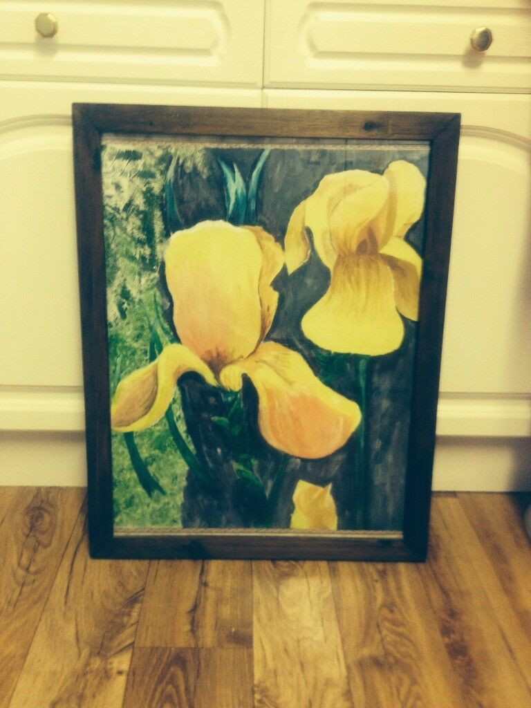 HAND PAINTED FLOWER OIL PAINTING - EXCELLENT CONDITION
