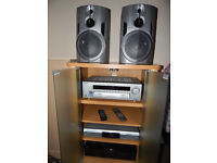 Cabinet + Amplifier+ CD player with record+ Stereo double cassette deck + speakers