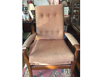 Retro armchair , in good condition . Covered in tweed style fabric. Free local delivery.