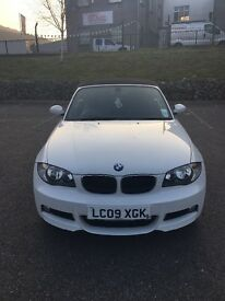 White BMW 1 series convertible 118d m sport
