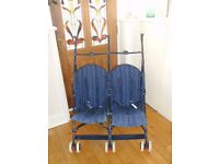 Double Twin Stroller Buggy Navy & White Stars Good Clean Condition.