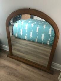 Mirror, large arced solid oak