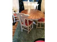 White and oak table and chairs