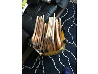 Bag of 40 Ikea wooden coat hangers