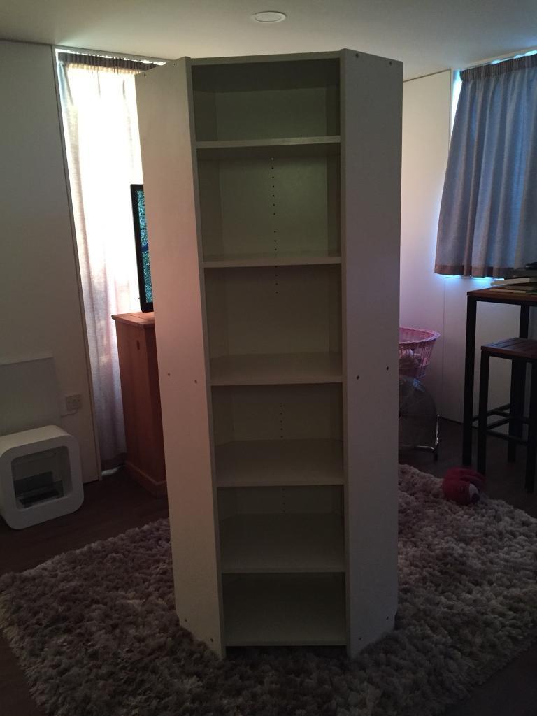Tall Deep White Corner Shelf Unit