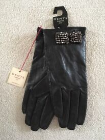 Brand new Dents ladies black leather gloves with silver beaded bow detail