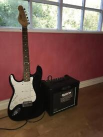 LEFT HANDED ELECTRIC GUITAR WITH AMPLIFIER