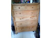 Old solid pine chest of draws
