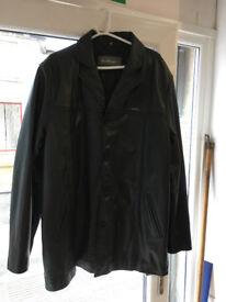 Mens Ben Sherman XXL Black Leather Jacket