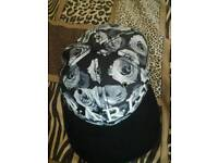 Cayler & Sons Black and White Roses Hat