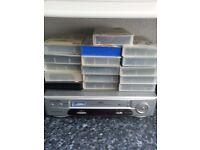 20 vhs tapes and player