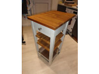 Ikea Stenstorp kitchen trolley. With drawer and shelves. White with Oak worktop.