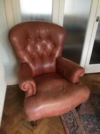 VINTAGE CHESTERFIELD COUNTRY HOUSE STYLE BUTTON WING BACK RUST TAN BROWN LEATHER ARM CHAIR