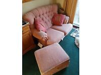 2 seater sofa and foot stool