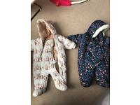 Two 0-3 months snowsuits in perfect condition!!