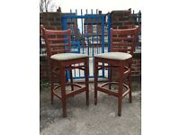 Matching Pair Of Bar Chairs - Pair Of Bar Stools - Tall Bar Chairs - Good Condition