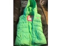 Bright green hollister body warmer gilet size xs