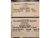 2 Tickets Dave Matthews Tim Reynolds London March 20 @ the Apollo 60 quid each