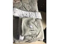 New grey and white cot bedding