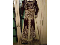 Heavy stone BRIDAL LENGHA indian asian OFFERS WELCOME size 8-10 (maroon and gold)