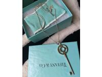 Authentic Tiffany Woman's Sterling Silver Key Pendant And Chain