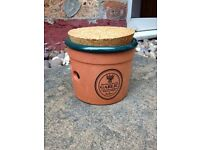 Terracotta Garlic Storage Pot with cork lid