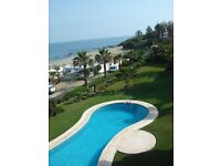 Front line beach, 2 bedroom 2 bathroom, sleeps 6, 20 mins from Malaga / Marbella, golf, restaurants.