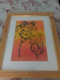 Lioness and Cub in a frame