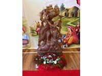 Quick Sale Radha Krishna Solid Wood Statue