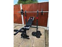 LikeNew Bench With Olympic Weights Set. •Can Deliver•