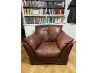 Chocolate brown leather armchair