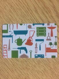 Homebase Gift Card with a £450 balance.