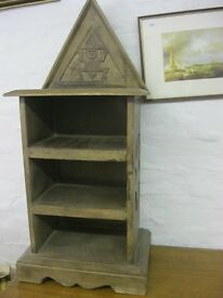VINTAGE BESPOKE UNUSUAL CABINET. TRIANGULAR TOP, 2 OPEN SHELVES. VERSATILE LOCATION USAGE. DELIVERY