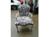 Antique style arm chair crushed velvet with diamond studs