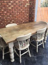 Refurbished Farmhouse country table and chairs x 6