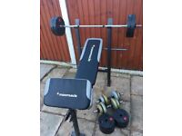 Bench with 55kg Weights Set. •Can Deliver•