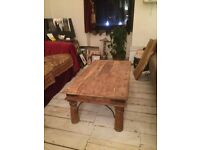Vintage Reclaimed Wood Solid Oak Coffee Table Wrought Iron Beautiful Condition