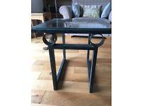 Side table, metal frame, glass top