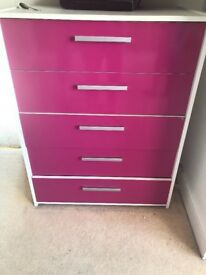 White & Pink High Gloss Chest of drawers