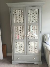 shabby chic painted schreiber glass fronted wardrobe