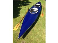 Double fibreglass Canoe/Kayak with two wooden paddles