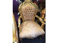 For sale stunning princes throne chairs new gold