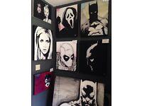 Original paintings - batman buffy joker scream Catwoman Deadpool comic art marvel DC geek