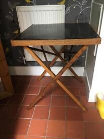 Folding card table, black top, vintage item