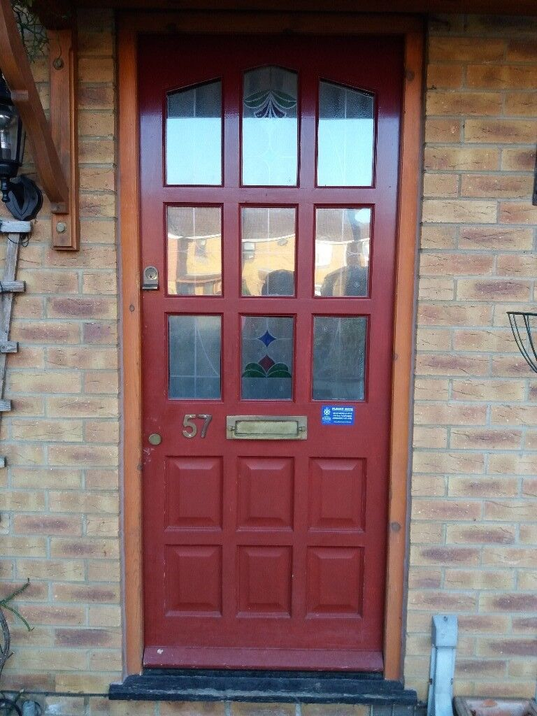 Red external wooden front door with coloured glass inc yale and chubb lock