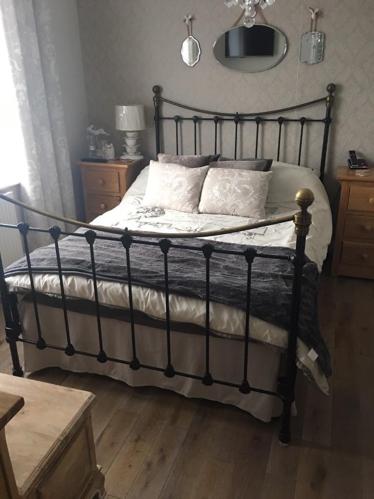 Double Black Metal Bed Frame - unusual design