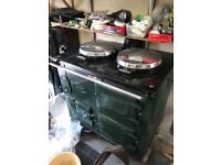 British Racing Green Oil Fired Aga - 2 Oven + Flue