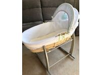 Moses basket and Mattress. Stand now sold