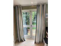 Pair of Laura Ashley Seaspray Blue Duck Egg Stripe Curtains French Door Eyelet Top